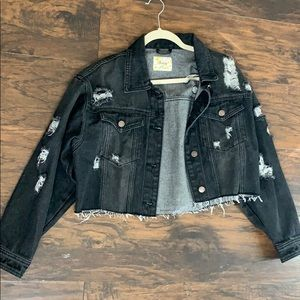 Jean cropped jacket faded black color